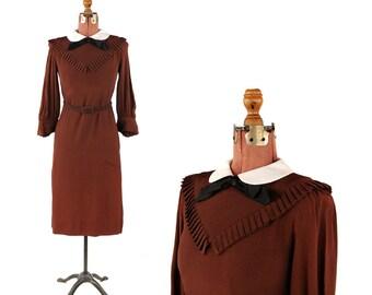 Vintage 1970's Joan Leslie Dark Brown Crepe Preppy Art Deco 40s Inspired Shift Dress S