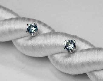 Montana Sapphire Stud Earrings in Silver or Gold, 3 mm