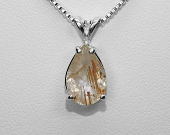 Golden Rutilated Quartz Pendant in Silver, 12 x 8 mm