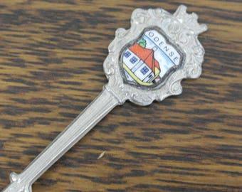 vintage silver plate enamel top from odense tea spoon