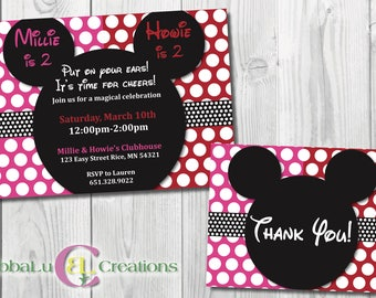 Mickey and Minnie Mouse Birthday Invitation. Boy/Girl Birthday. Personalized Mickey and Minnie Invitation. Minnie and Mickey Birthday. Twins