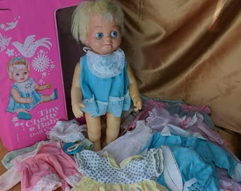 Vintage Blonde Tiny Chatty Baby Doll with Case and Clothes 1962 Mattel mute romper *eb