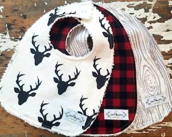 Baby Bibs - Boy Set of 3 - Black Stag, Buffalo Check Plaid, Grey Woodgrain - Lumberjack