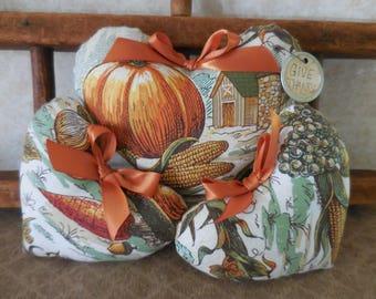 Primitive Heart Set Bowl Filler Tucks Autumn Harvest Pumpkin Heart Ornies