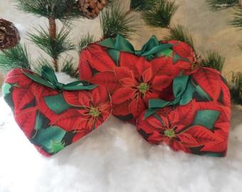 Handmade Primitive Poinsettia Heart Tucks Merry Christmas Bowl Fillers