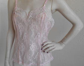 Vintage Sheer Lace Pink Camisole Jenelle of California Size 38 Rare Cami