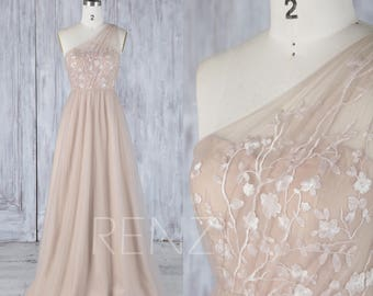 2017 Beige Tulle Bridesmaid Dress, Sweetheart Illusion Wedding Dress, One Shoulder Lace Ball Gown, A Line Evening Gown Full Length (LS318)