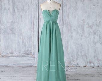 2017 Dark Green Bridesmaid Dress Slit, Ruched Empire Wedding Dress,Sweetheart Strapless Formal Dress,A Line Prom Dress Floor Length (L327)
