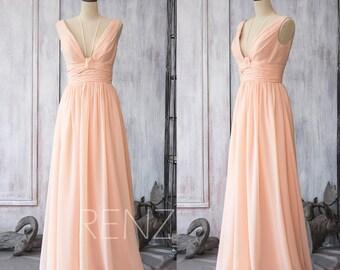 Peach Chiffon Bridesmaid Dress Long, Maxi Wedding Dress, Backless Formal Dress,Spaghetti Strap Party Dress Floor Length(F088)-Renzrags