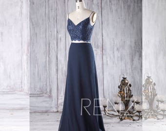 2017 Navy Bridesmaid Dress, V Neck Wedding Dress, Two Piece Prom Dress, A Line Chiffon Maxi Dress Backless Floor Length (H312)