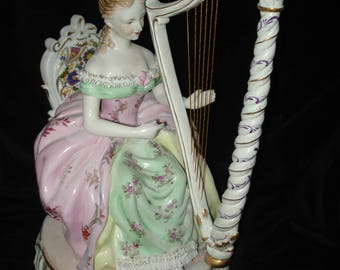 German Porcelain Harpist Player