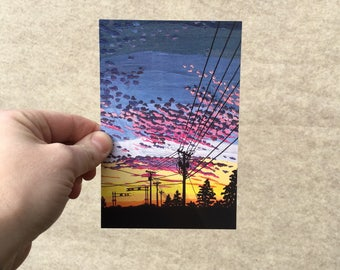 """Postcard """"Blushing Freckle-Faced Sky"""", 4x6 inches, high gloss, UV protection, professionally printed, Washington DC postcard"""