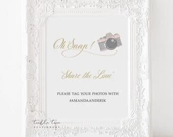 Printable Oh Snap Hashtag Photo Sign - Retro Fun 1