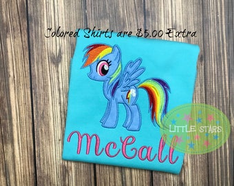 My Pony Rainbow Girl Shirt- Embroidered and Personalized