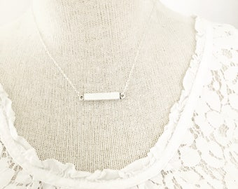 Simple Horizontal Antiqued SILVER Bar Necklace