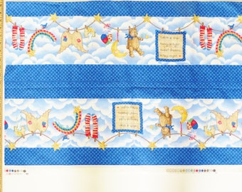 Daisy Kingdom Border Fabric 4048, Nitey Night Nursery Bumper, Sandy Gore Evans, Teddy Bears Border Print, Catch a Star, Destash Remnant