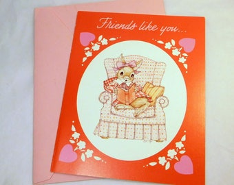 """Vintage Greeting Card Valentine """"Friends like you...are PRECIOUS and FEW"""" UNUSED - Current Brightsides"""