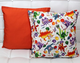Pillow Cover, 15x15 inch, Orange Solid Front, Party Animals on Back, Zipper Closure on back panel, Throw Pillow Cover, Birthday Throw Pillow