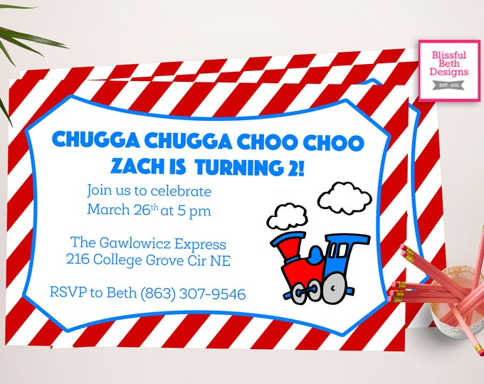 CHOO CHOO TWO, Printable Train Invitation, Choo Choo I'm Two, Train Birthday Invitation, Train Birthday, Choo Choo Train Birthday, Choo Choo