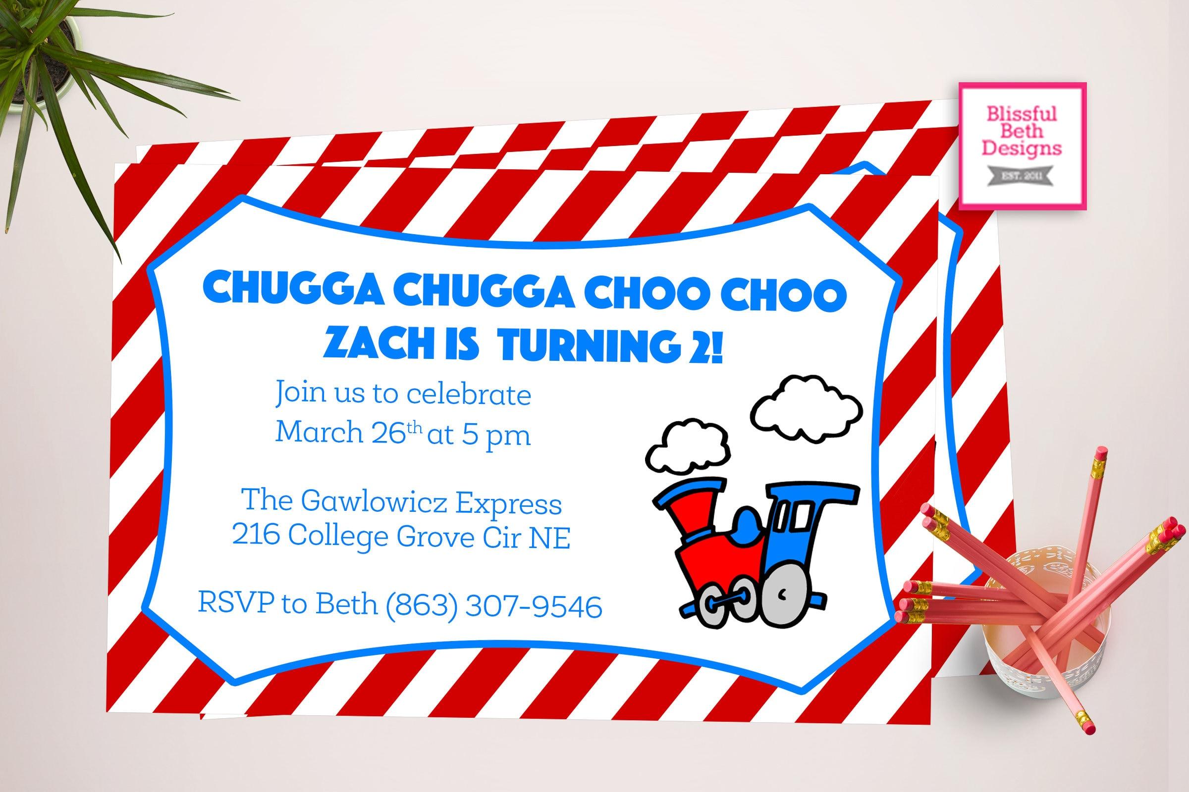 CHOO CHOO TWO Printable Train Invitation Choo Choo Im Two