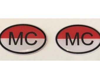 "Monaco MC Domed Gel (2x) Stickers 0.8"" x 1.2"" for Laptop Tablet Book Fridge Guitar Motorcycle Helmet ToolBox Door PC Smartphone"