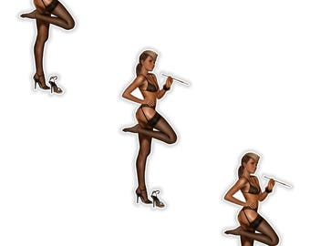 Pin Up Girl 3x Stickers Vintage Sexy #14 - 2.5x6cm  (1 x 2.3inches) for Laptop Tablet Helmet Motorcycle Bumper