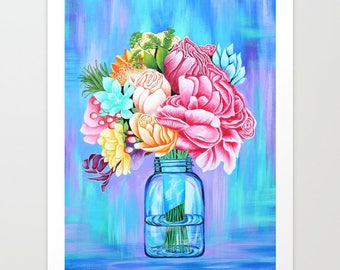Print Mason Jar with Flowers // Acrylic, art, nature,painting,bohemian,boho,botanicals,blue,bright,colorful,rainbow colors,roses,succulents