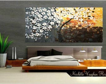 "60"" Huge Abstract landscape  Original Modern palette knife Cherry Blossom Tree ""Sunkissed""impasto oil painting by Nicolette Vaughan Horner"