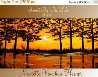 "SALE ORIGINAL Abstract Oil Contemporary Landscape Trees On Gallery Canvas  by Nicolette Vaughan Horner 48""x24"""