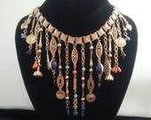 ON SALE Vintage Tassel Runway Statement Necklace ** Victorian Revival Book Chain Necklace