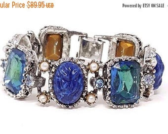 On Sale Blue 1950's Rhinestone Bracelet Very Classy Old Hollywood Huge Stones Faux Pearls Glass Cabochons Rare Hard To Find Jewelry