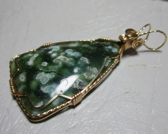 OCEAN JASPER pendant, wire wrap, wire wrapped pendant, wire wrapped necklace