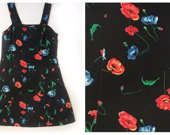 Black Poppy Floral Vinage 90s Dress Small Medium