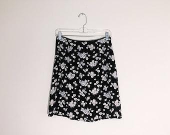 Blue Black  Ditsy Floral Vintage 90s Mini Skirt Small Medium