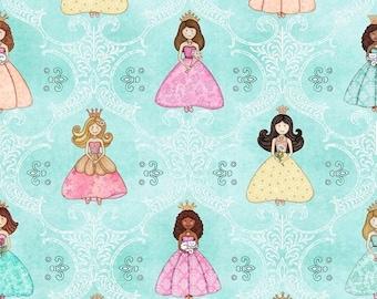 15% off thru Mar.19th ROYAL PRINCESS-by the half yard by Qt fabrics-24517-Q pretty princesses girl on aqua