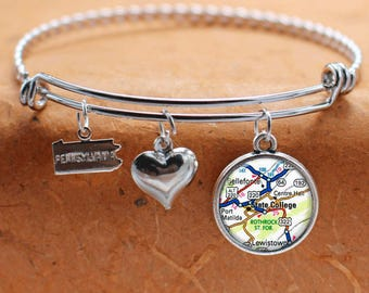 State College PA Map Charm Bracelet State of Pennsylvania Bangle Cuff Bracelet Map Jewelry Stainless Steel Bracelet