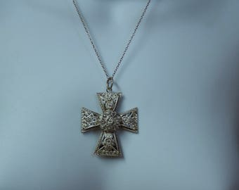 Vintage 800 Silver Filigree Cross Pendant and Sterling Chain