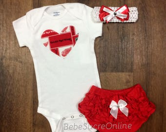 Detroit Redwings Outfit and Headband