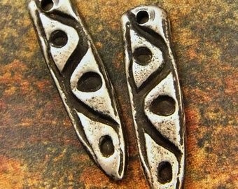 Tribal Dagger - Hand Cast Rustic Pewter Jewelry Components pair