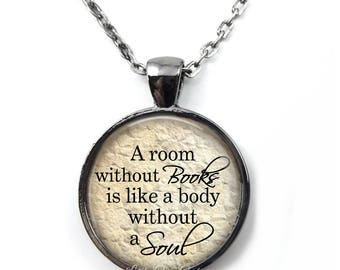 A room without Books Necklace or Key Chain Charm - Book Club Reading Jewelry - Literary Reader Book Nerd Jewelry - Library Teacher Gift