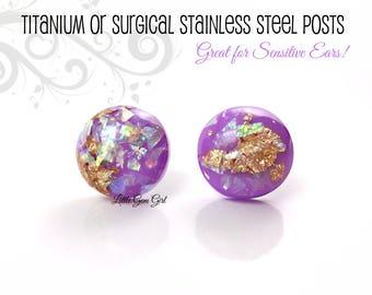 12mm Purple Gold Leaf Opal Earrings - Lavender Purple Stud Earrings - Holographic Purple Studs Titanium or Surgical Stainless Steel