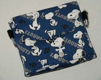 """NEW SIZE 2 Way Hip Bag / Fanny Pack With Belt Loop and Carabiners Made with Japanese Fabric """"Snoopy - Oxford Denim""""  Plus Size"""