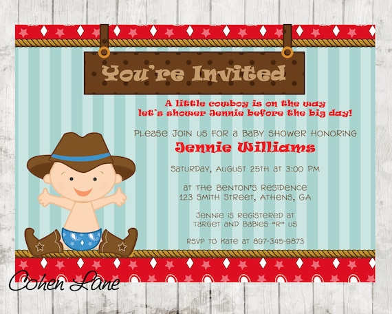 Cowboy Invitation Cowboy Baby Shower Baby Shower Invitation