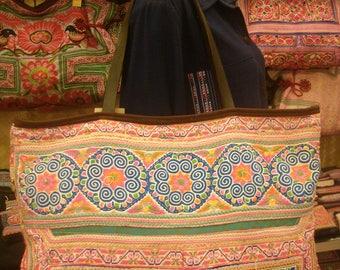 Tote/vintage -Tribal-Handmade Ethnic Hmong Bag 017