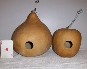 """Two (2) Gourd Birdhouses 1 1/2"""" Entrance Holes... Dried Gourd...5/29#3"""
