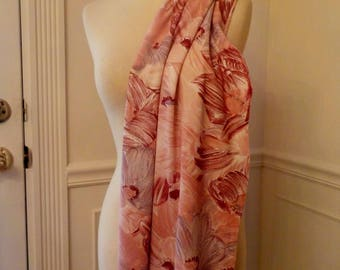 """New Vintage 70's Knit Fabric 1.5 yards 60"""" wide Pink Floral Brushstroke"""