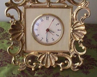 ON SALE Hollywood Regency Gold Gilded Stylized Shell Frame Clock Dresser Clock Electric Clock Made in USA