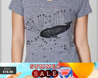 Summer Sale Aviation Whale - Women's T Shirt - Large - American Apparel