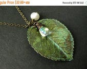 BACK to SCHOOL SALE Green Leaf Necklace. Charm Necklace with Fresh Water Pearl and Clear Teardrop. Handmade Jewelry.