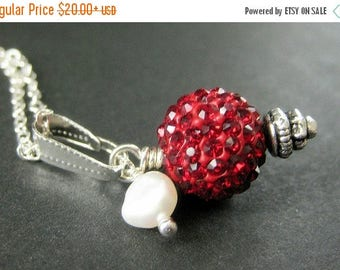BACK to SCHOOL SALE Red Kissing Ball Necklace. Red Necklace. Red Rhinestone Necklace with Fresh Water Pearl. Handmade Jewelry.